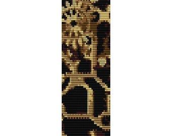 Machine Gears Loom Bead Pattern, Bracelet Pattern, Bookmark Pattern, Seed Beading Pattern Miyuki Delica Size 11 Beads - PDF Instant Download