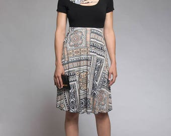 Mosaic pattern dress with princess cut - Black dress with patchwork - A line dress - Dress with short sleeves - Made in Quebec