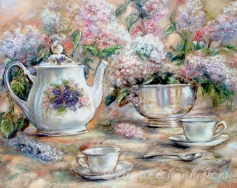 "Teacup, Teapot, tea-party, Still life, floral art,   Laurie Shanholtzer ""Tea and Lilacs"" Canvas or Cotton art paper print,"