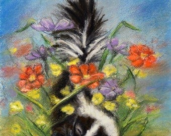 "Animal baby, Skunk, Nursery art print, wildlife, woodland, Canvas or paper print, ""Essence of Spring"" Laurie Shanholtzer"