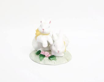 Vintage Bunny Figurine 2 Rabbits Statue White Ceramic Bunnies Yellow Ribbons Easter Decor Childs Room