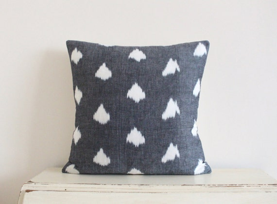 "Arrow Ikat pillow cushion cover 20"" x 20"" in dark grey"
