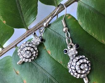 Rhinestone Snail Earrings