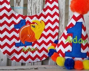 Toucan Birthday Hat and Bib Set - Parrot Birthday Party - Toucan 1st Birthday Party - Red Chevron Birthday Hat - Photo Prop