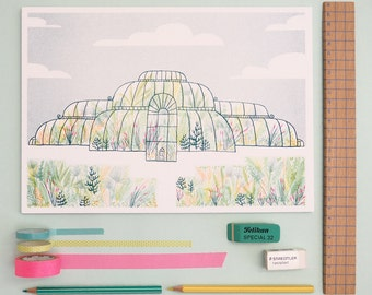 Greenhouse Riso Print / Jacqueline Colley x Kate Rowland