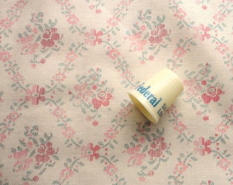 pink and red on cream floral print vintage cotton fabric -- 44 wide by 1 1/3 yard