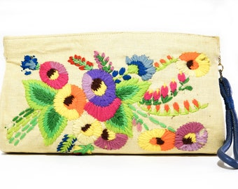 Vintage Embroidered Linen Clutch with Coin Purse 1960s