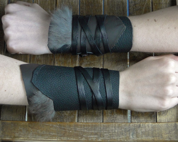 Leather Cuffs - Warrior Viking Tribal Larp Costume Cosplay - Pair #20c