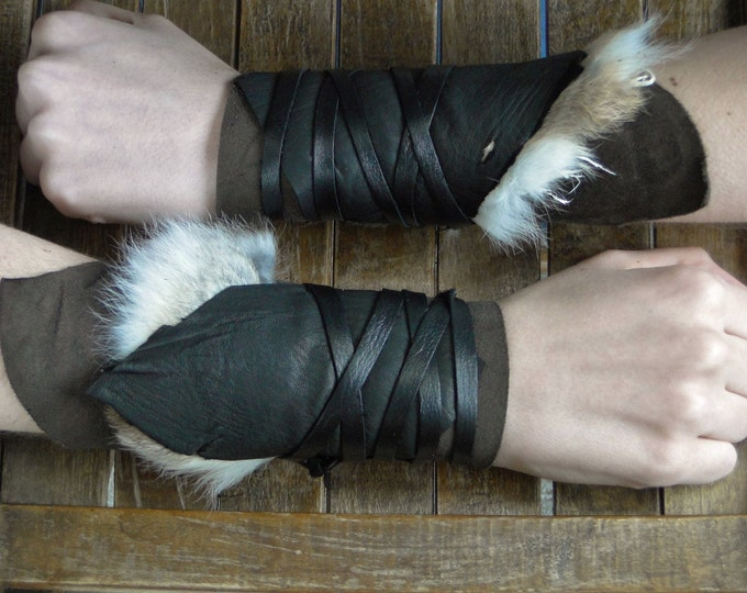 Leather Cuffs - Warrior Viking Tribal Larp Costume Cosplay - Pair #20d