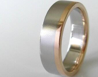 Gold Stripe Wedding Band, 6mm, Recycled 14k & 18k Gold, Sterling Silver, Stacking Wedding Ring, Alternative Gold Wedding Ring
