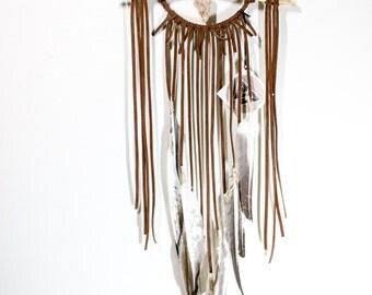 The Prairie Falcon Dreamcatcher - Brown Modern Leather Dream Catcher, Feathers, Crystal Sunstone, Boho Bedroom Decor, Housewarming Gift