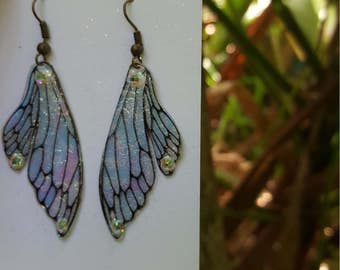 fairy fairie earrings iridescent rainbow