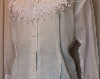 White semi sheer cotton and Lace Blouse large