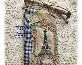 Eiffel Tower -Smartphone, Glasses Pouch , Crazy patchwork, primitive hand drawn, hand embroidered in Australia