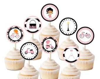 Paris Cupcake Toppers and and tags, Paris Party Circles, Paris Stickers, Paris Party Printable, Paris favors DIY, Instant Download