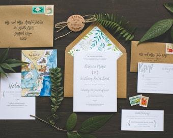 Classic and Rustic Letterpress Invitation Set: Watercolor florals