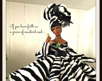 Animal Print, Zebra Print Art Doll, African American Inspirational Home Decor, Black Dolls, Mustard Seed Faith Doll