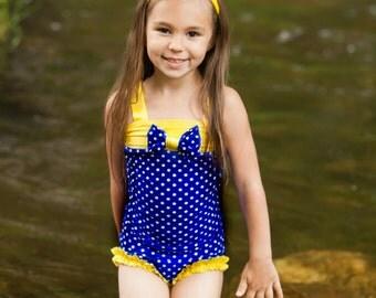 Girls Swimsuit - Polka Dot Swimsuit - One Piece Swimsuit - Bathing Suit - Yellow Swimsuit - Blue Swimsuit - Toddler Swimwear - Kids Swimsuit
