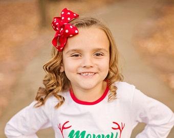 Red & White Polka Dot Large Hair Bow - Polka Dot Hair Bow, Red Polka Dots, Red Hair Bow, Red Polka Dot Hair bow, Christmas Hair Bows