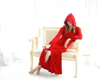 Vintage red hooded maxi dress, long sleeve, hood, S 1970s