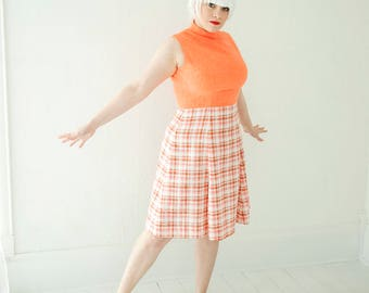 Vintage coral plaid dress, orange white sleeveless summer, L XL plus size, 1970s