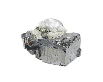 Bournonite Crystal with Purple Fluorite, Barite, Golden Pyrite and calcite on Lead Gray Galena Cube Crystal Metallic Ore mineral Specimen
