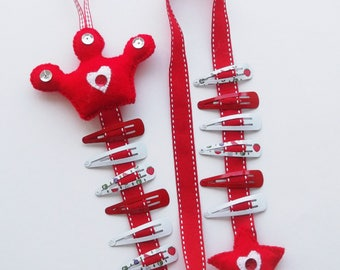 Hair clip holder,  hair bow holder, Red Princess Crown, hair clip organizer, girls bow holder