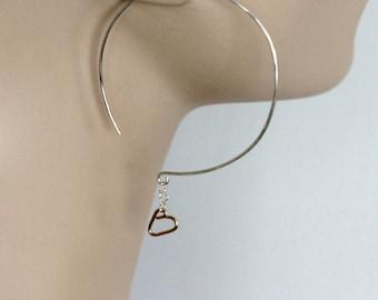 large sterling silver hoop earrings tiny gold hearts   big silver hoop earrings   mix metal hoops   big hoops   handmade jewelry girlthree