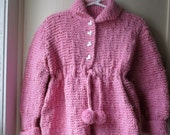 ON SALE Vintage handknit sweater coat and tam set / Cozy knit matinee sweater / Dusty Rose  2 piece set / baby girl toddler 18 to 24 months