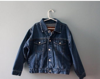 Boy's vintage faded dark wash blue denim jacket / Faded Glory Jeans Co. Snap up Jean Jacket / Size 7