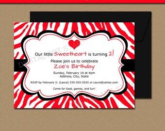 Red Zebra Valentines Day Invitations, Kids Valentine Birthday Invitation Template, EDITABLE Girl Birthday Invitations Instant Download
