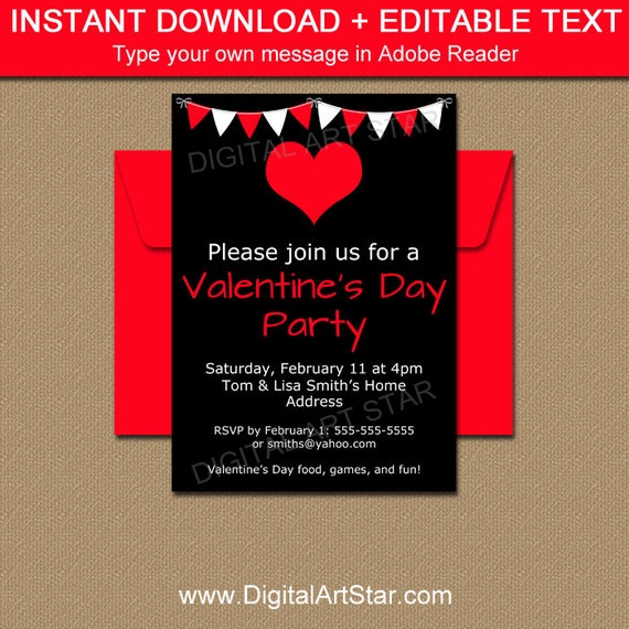 black and red valentines day party invitation template printable valentines day party sign. Black Bedroom Furniture Sets. Home Design Ideas