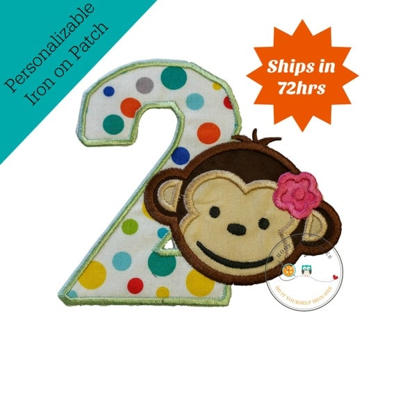 Girl Mod Monkey Number Two Iron On Applique, Girl Monkey