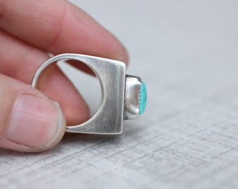 Silver Hollow Form Ring, Turquoise Ring, Embossed Ring, Size 6.5 Ring