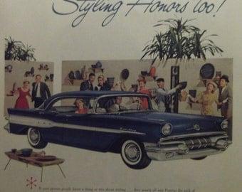 1957 PONTIAC  SUPER CHIEF Original Vintage Automobile Advertisement Car Shop Garage Print Additional Ads Ship Free Ready To Frame