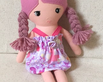 Dressable Fabric Doll with rose hair in summer dress cloth doll