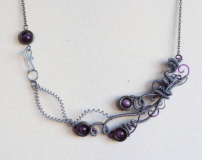 Techie necklace with purple tiger eye