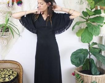 Bohemian Vintage Maxi Dress, Fringe cape sleeves Gypsy dress Stevie Nicks vibes LBD Black dress 70s gown, Medium 4142