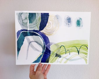 original watercolor painting art aquarelle 13 x 9 inch Dry drop memory