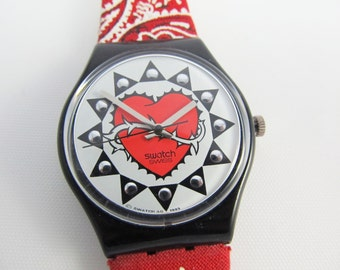 Swatch Watch Trash Model Red Bandana Strap Thorny Heart Dial Design 1993 1994 Vintage Swatch Watch GB154