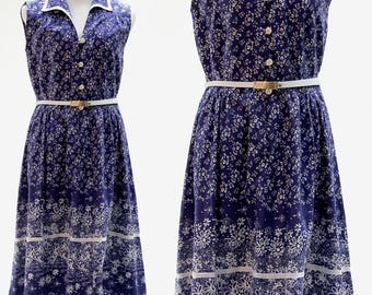 Summer Dress, Vintage 1950s Dress, Blue and White Cotton, Vintage ROCKABILLY 50'S,  Flowers, PARTY, Swing , Party, Picnic Dress