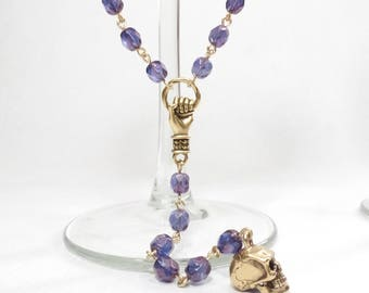 Blue Purple Czech Crystal Rosary Bead Chain Style Extra Long Necklace with Gold Hand and Skull
