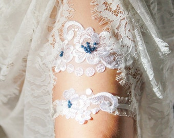 Wedding Garter Set Bridal Garter Set - Lace Garter White Garter Belt Navy Blue Garter - Rustic Wedding Garter Boho Bride Vintage Inspired