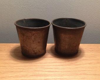 Mini flower pots, metal plant pots, table centres, tea light holders, vintage flower pots, candle holders, votives, set of 2