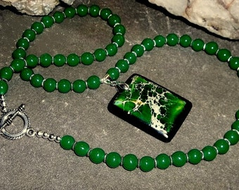 Necklace, Jade Beads with Bold Green Pendant
