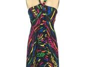 vintage 1990's OSCAR de la RENTA beach wrap / black rainbow / ribbon streamer novelty print / dress skirt shawl / women's vintage wrap