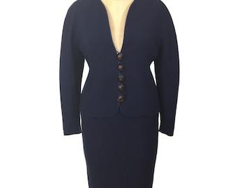 vintage 1980's LANVIN skirt suit / navy blue / wool / power suit / skirt blazer jacket / women's vintage suit / size 38