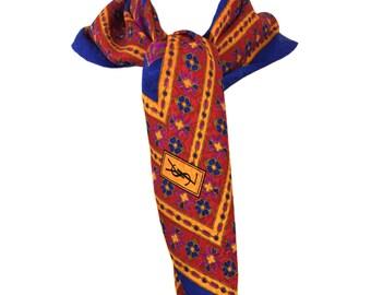 vintage 1980s YSL scarf / silk / Yves Saint Laurent / red blue pink gold / vintage accessories / designer scarf / vintage scarf