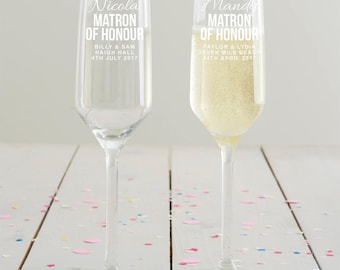 Personalised Matron Of Honour Champagne Flute