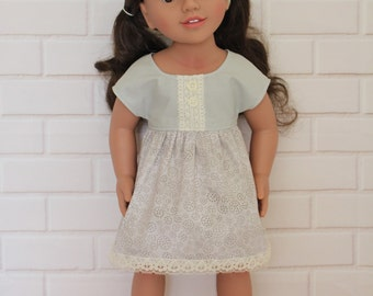 Gray Sleeved Dress Dolls Clothes to fit 18 inch dolls to 20 inch dolls such as American Girl & Australian Girl dolls